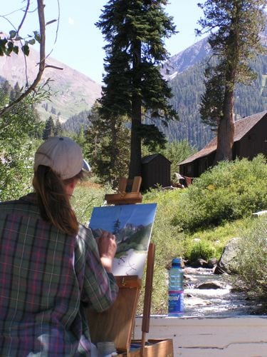 Painting Farewell Gap in Mineral King plein air in 2007