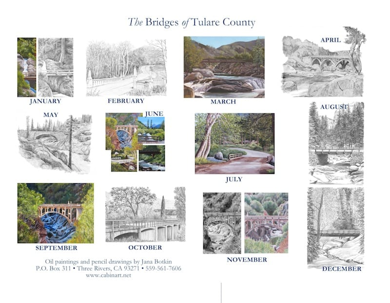 Back cover of 2017 calendar The Bridges of Tulare County