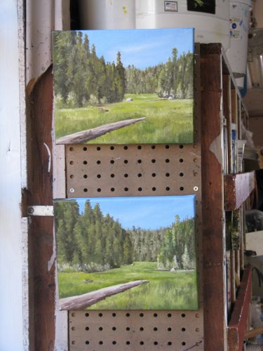 Crescent Meadow oil paintings in progress