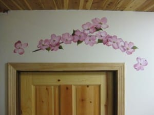 pink dogwood over a doorway