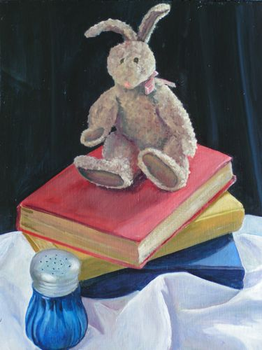 Salt & Light, or Reading Rabbit, oil on board, 11x14""