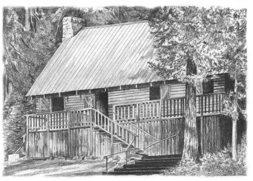 Pencil drawing of Wilsonia Club House