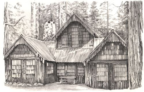 pencil drawing of Wilsonia cabin