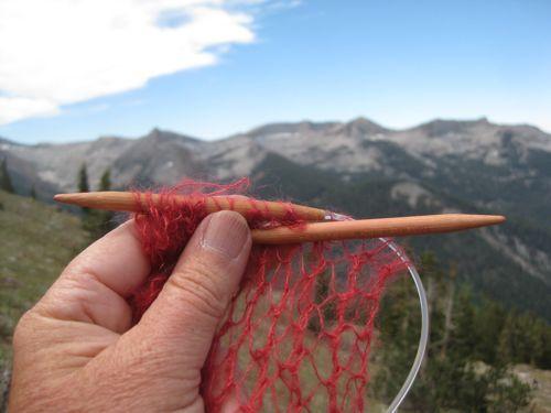 knitting with a mountain backdrop, photo by Jana Botkin