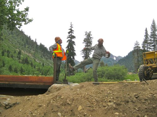 2 guys goofing off while working on the Mineral King Bridge photo by Jana Botkin