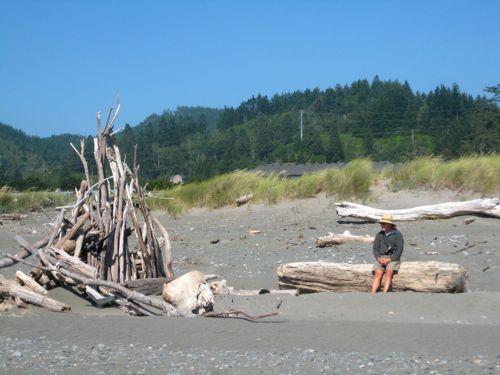 driftwood structure on an Oregon Beach