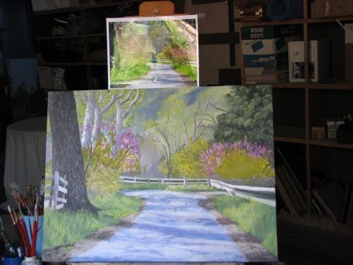 oil painting commission of spring in Three Rivers