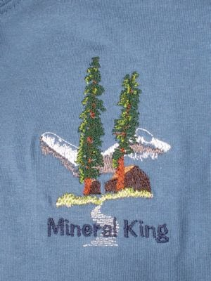 Custom Mineral King embroidered tee shirt logo