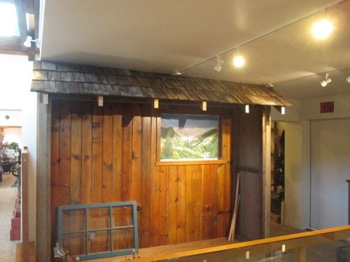 Cabin facade in Mineral King Room of Three Rivers History Museum