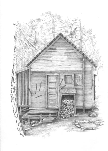 Pencil drawing cabins joy studio design gallery best Cabin drawings