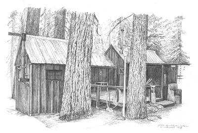 Drawings Of Old Cabins for Pinterest