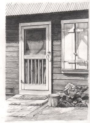 Pencil drawing of cabin door from The Cabins of Wilsonia.