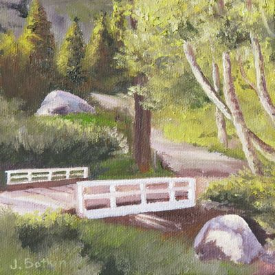 oil painting of Mineral King Bridge by Jana Botkin