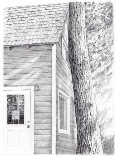 pencil drawing of Wilsonia cabin by jana Botkin