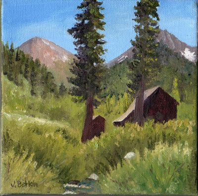 Mineral King oil painting of Crowley Cabin