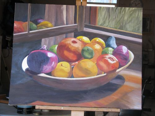 fruitbowl oil painting in progress