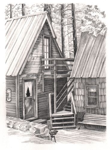 pencil drawing of cabin