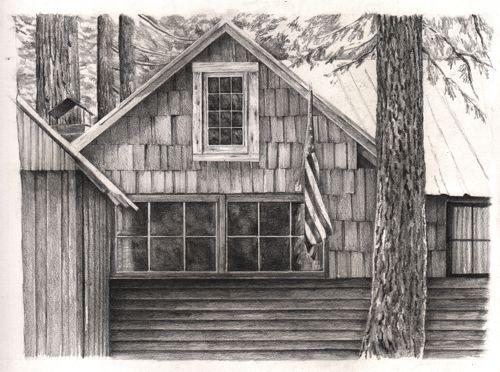 Wilsonia cabin pencil drawing