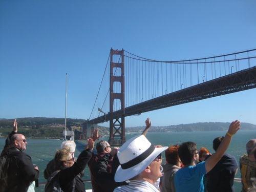 Heading under the Golden Gate Bridge