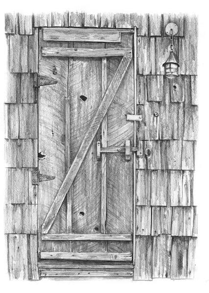 door pencil drawing 2 point perspective rustic doorpencil drawings pauls table cabin art
