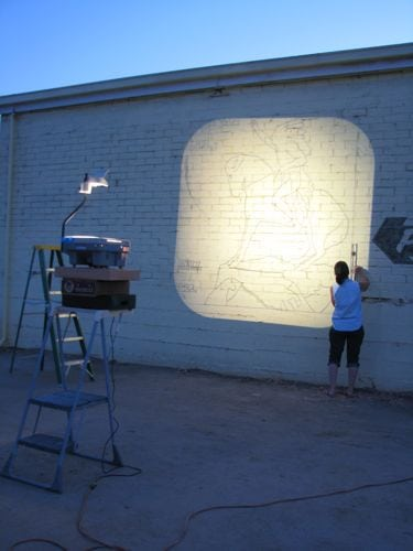 Projecting a new mural cabin art for Best projector for mural painting