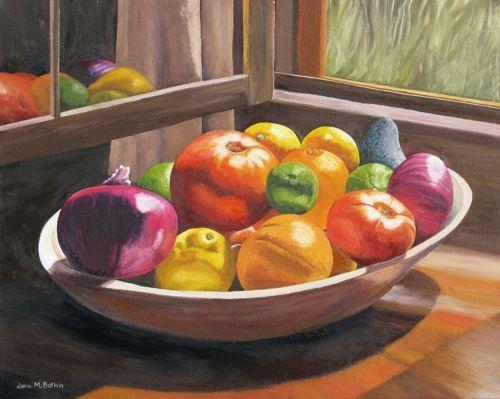 Fruit Bowl Oil Painting Cabin Art